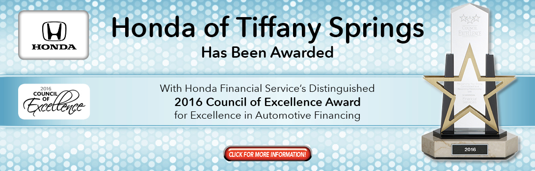 Honda Of Tiffany Springs Council of Excellence Award