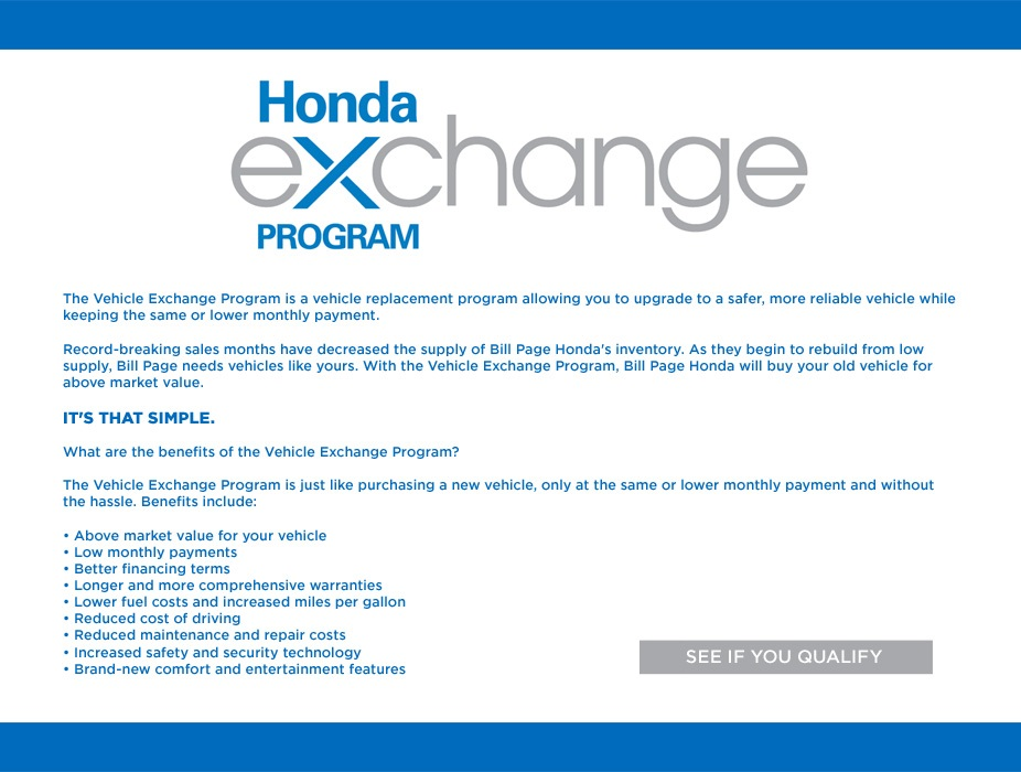 Bill Page Honda Vehicle Exchange Program