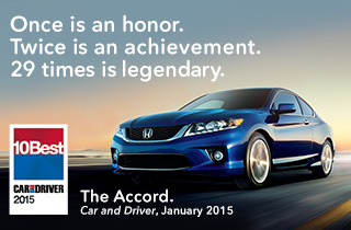 2015 Honda Accord Car and Driver 10 Best Award
