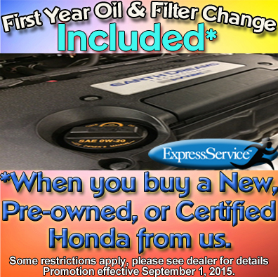 1st Year Oil & Filter on Us Promotion