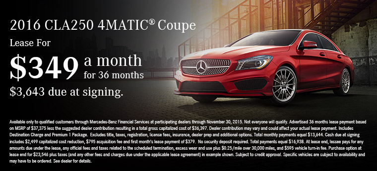 Lease a 2016 CLA250 4MATIC for $349 a month at Mercedes-Benz of Fort Wayne!