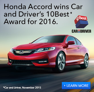 Honda Accord wins Car and Driver's 10Best Award for 2016