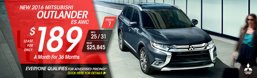Lease a 2016 Outlander ES AWC for only $189/mo