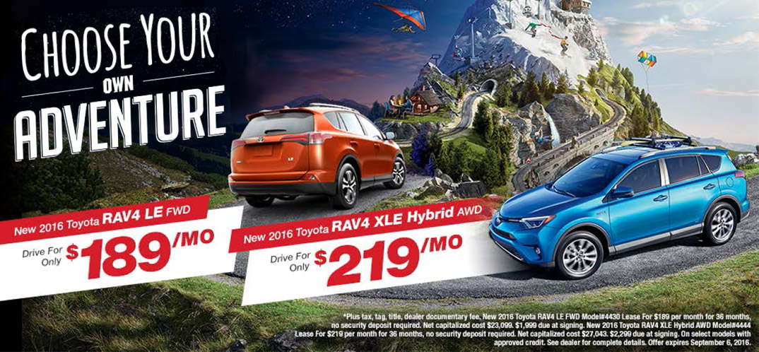 Page Toyota RAV4 sales event Choose Your Own Adventure