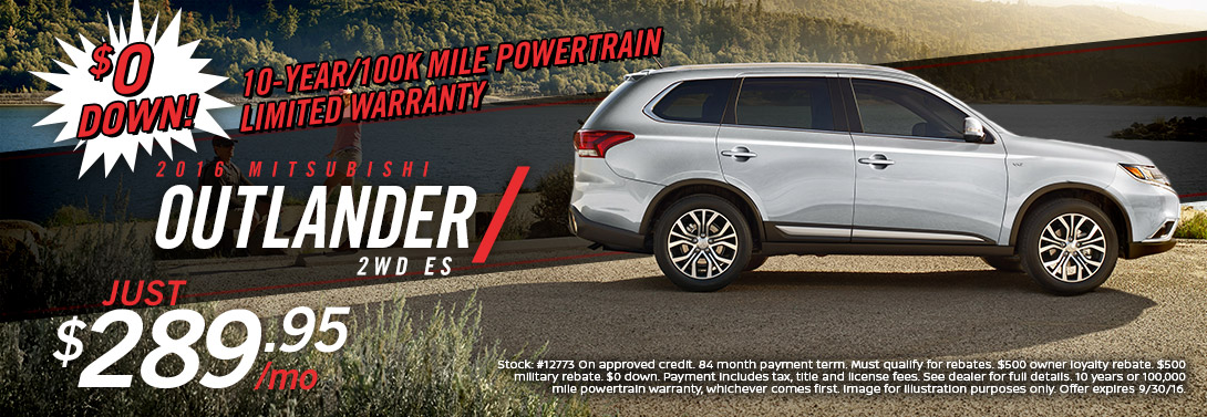 2016 Mitsubishi Outlander ES No DOwn payment special offer near San Diego