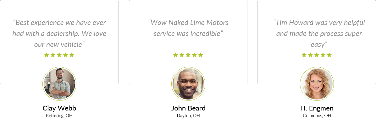 Testimonials - Best experience we have ever had with a dealership. We love our new vehicle. Clay Webb, Kettering, Ohio. And more reviews