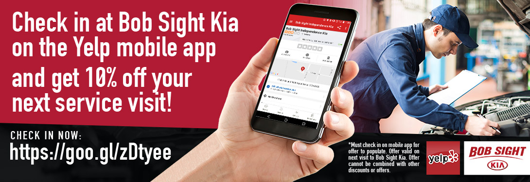 Check in at Bob Sight Kia on the Yelp App - Get 10% Off Your Next service visit