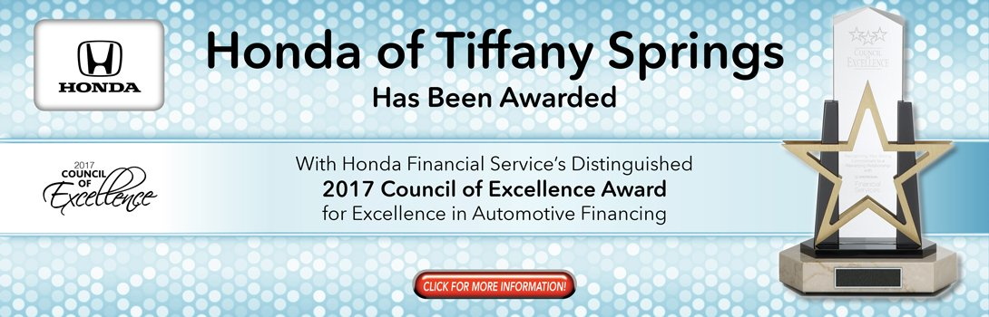 Honda of Tiffany Springs 2017 Council of Excellence Award