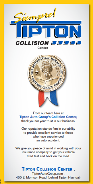 Collision Center Award  - Tipton Collision Center - Brownsville, TX