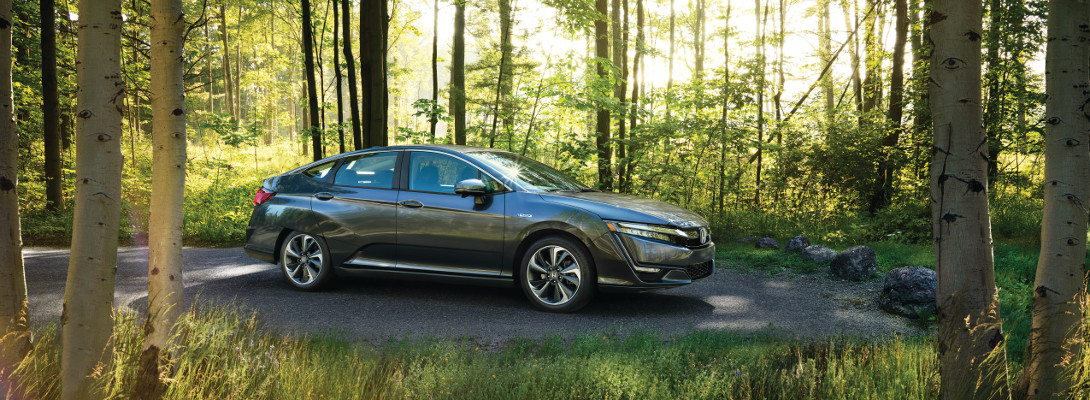 A 2018 Honda Clarity parked in the forest