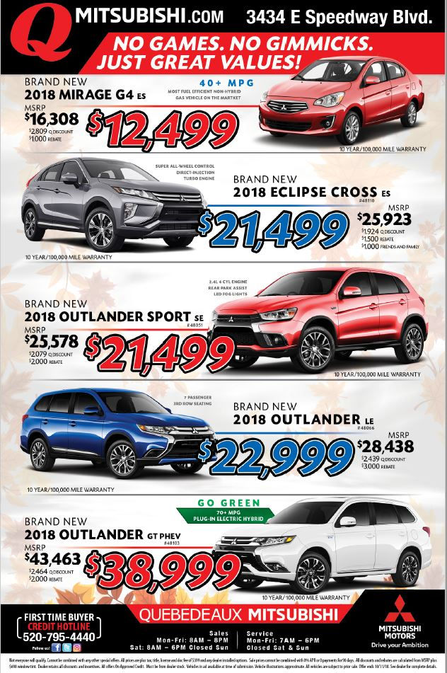 New Car Specials Coupons -Mitsubishi Mirage, Lancer, Outlander, i