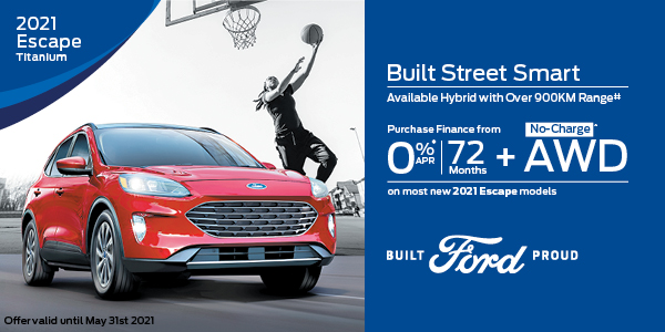 0% APR for 72 months on most new 2021 Escape models