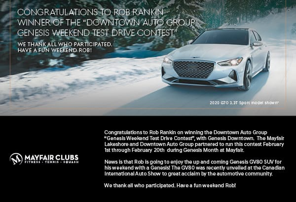 "Congratulations to Rob Rankin winner of the ""Downtown Auto Group Genesis Weekend Test Drive Contest"" We thank all who participated. Have a fun weekend Rob! Image of a 2020 G70 driving through snow"