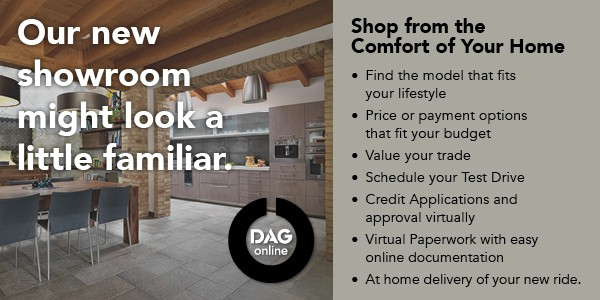 Click to shop DAG online.  Go to dagonline.com.  Our new showroom might look a little familiar.  Shop from the Comfort of Your Home.