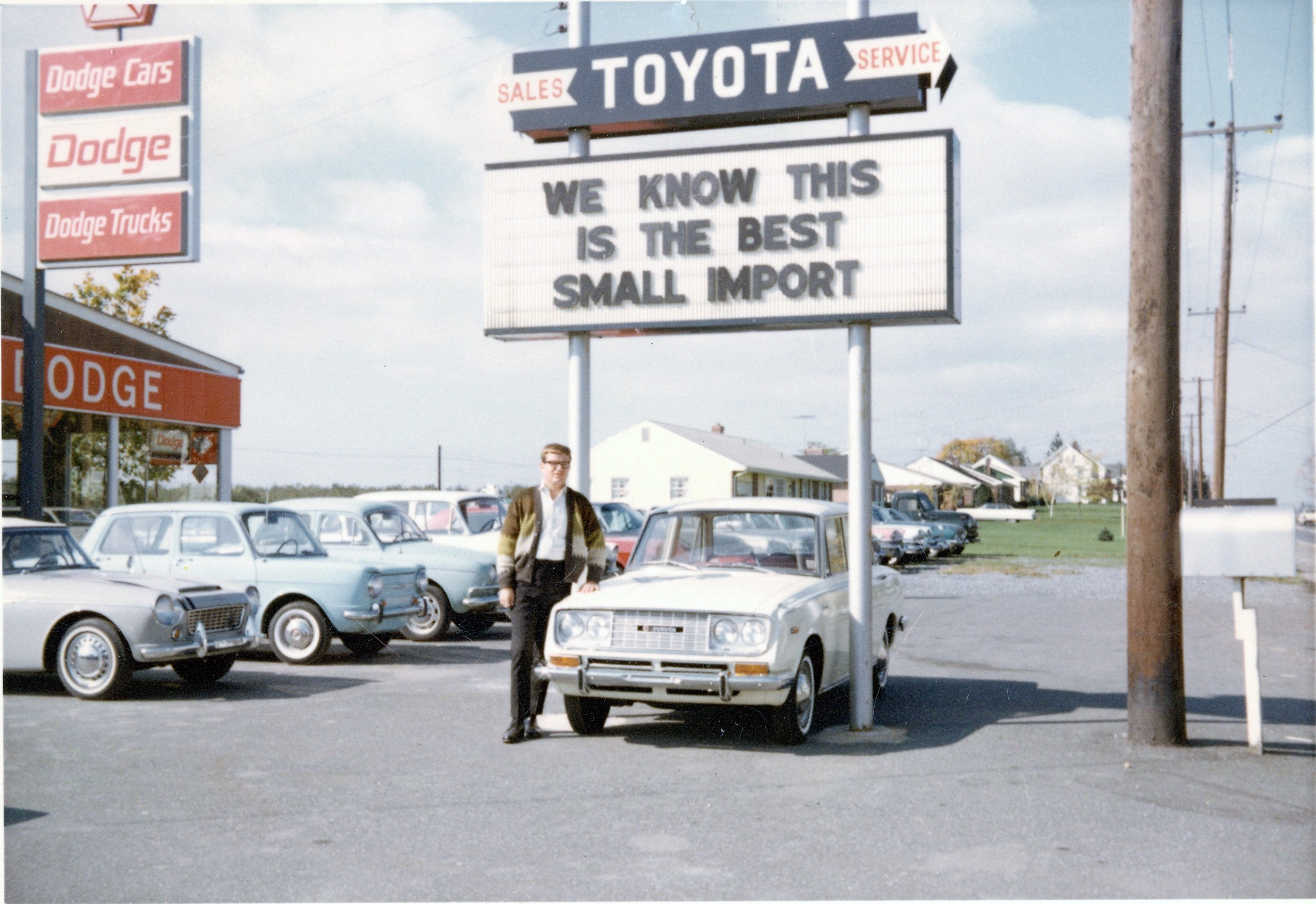 Robert J Krause with a Toyopet - mid 1960s - Krause Toyota