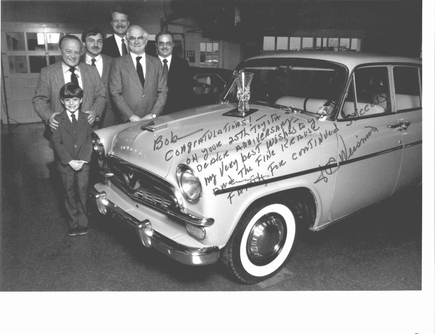Matt Krause, Robert B Krause, Robert J Krause & Harry Krause with two Mid Atlantic Toyota Executives - Krause Toyota's 25th Anniv