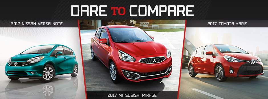 Compare Mitsubishi Mirage Nissan Versa Note And Toyota Yaris In Pensacola Fl
