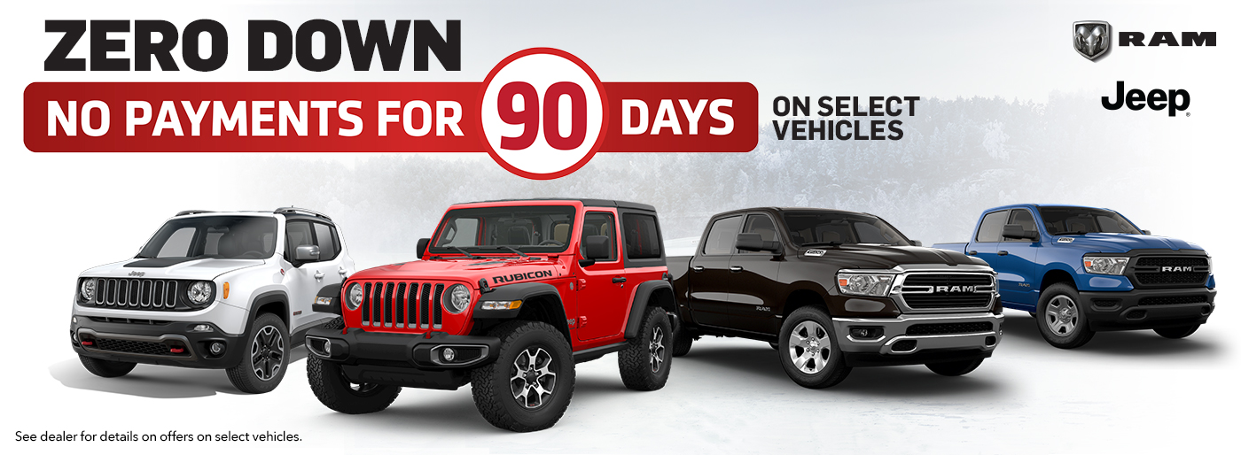 O'ConnorJeep Ram Zero Down & No Payments For 90 Days in Chilliwack BC