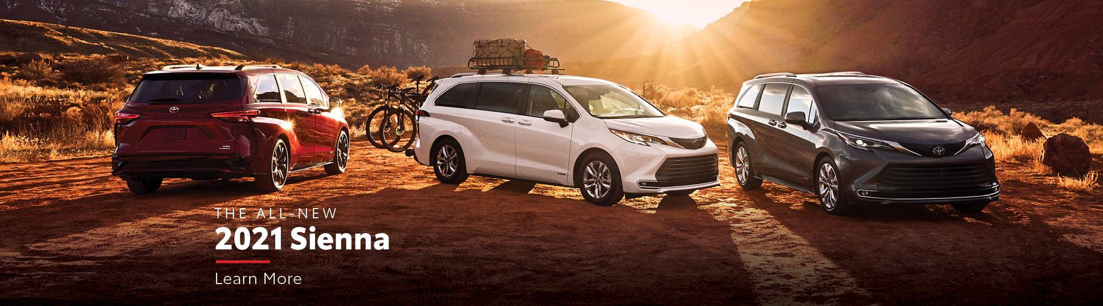 The All New 2021 Sienna. Image of three Toyota Siennas parked off-road. Click link to navigate to 2021 Toyota Sienna Overview page
