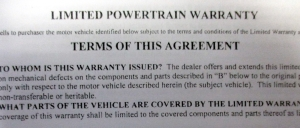 What does a used car warranty cover?
