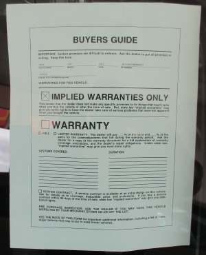 Used car warranty buyer's guide picture.