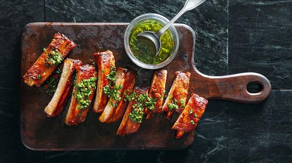 bbq ribs with chimichurri sauce
