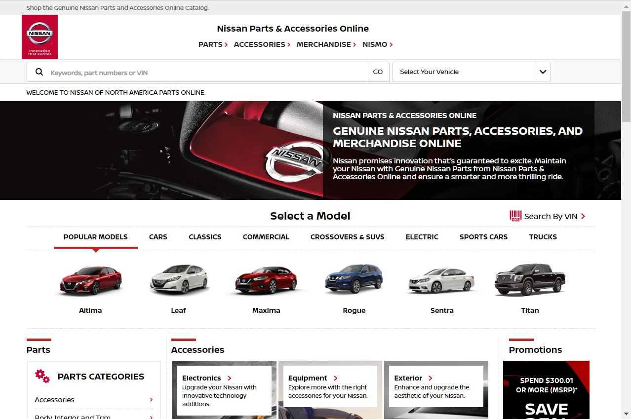 Re-Designed Nissan Parts & Accessories Online Store
