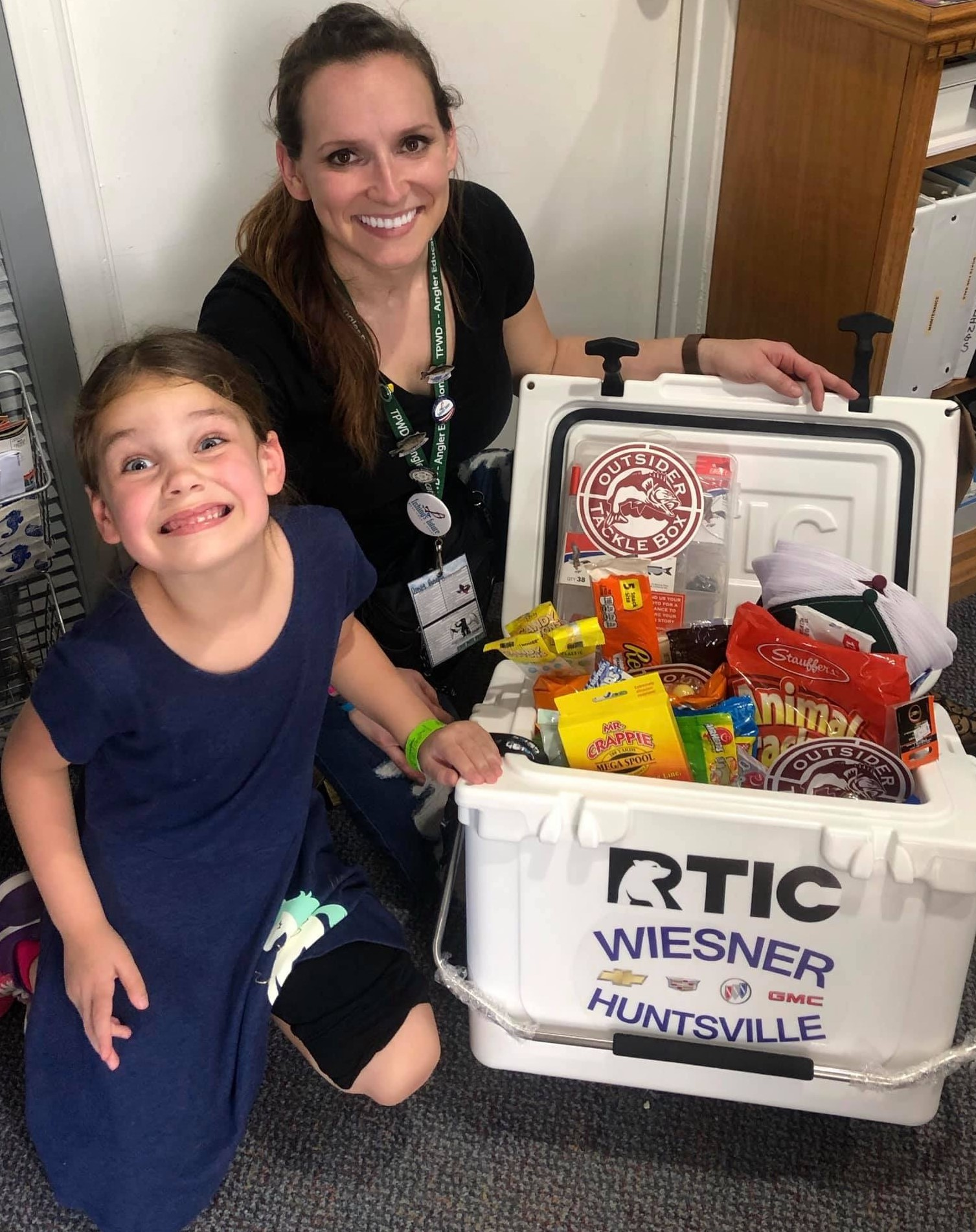 Evelyn Yingling with Winning Cooler