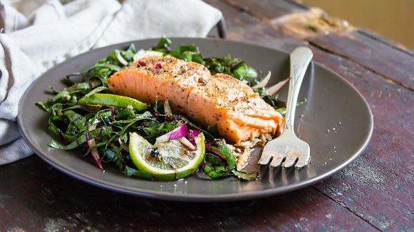 salmon plate with veggies