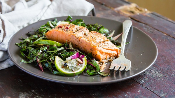 salmon plate with veggies