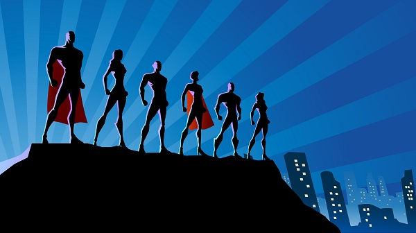Silhouettes of six animated superheroes