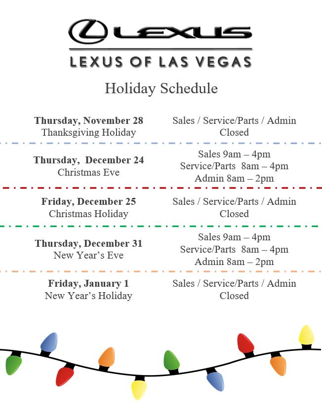 Lexus of Las Vegas Holiday Schedule