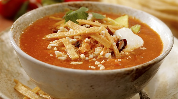Bowl of soup with tortilla strips on top
