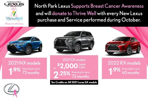 North Park Lexus Supports Breast Cancer Awareness and will donate to Thrive Well with every New Lexus purchase and Service performed during October
