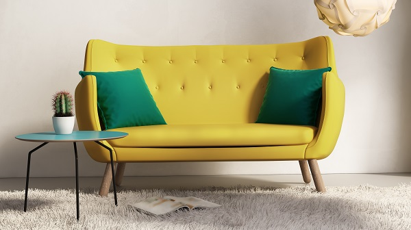 colorful couch in living space
