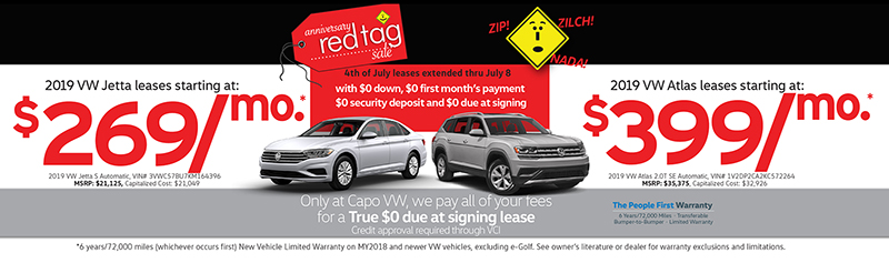 Capo VW 4th of July Sign then Drive leases