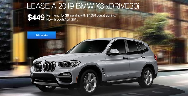 Lease The 2019 BMW X3 xDrive