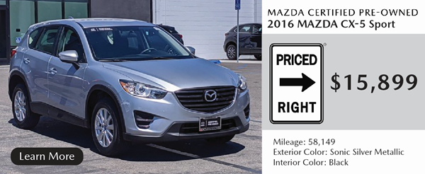 Certified 2016 Mazda CX-5 Sport