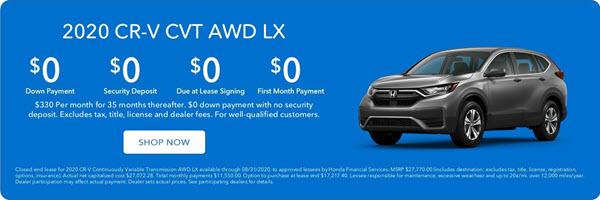 Lease a New 2020 Honda CR-V AWD LX. Zero Down. Zero Due at Signing.