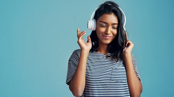 Woman Listening to Headphones