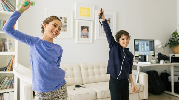 kids playing a video game together