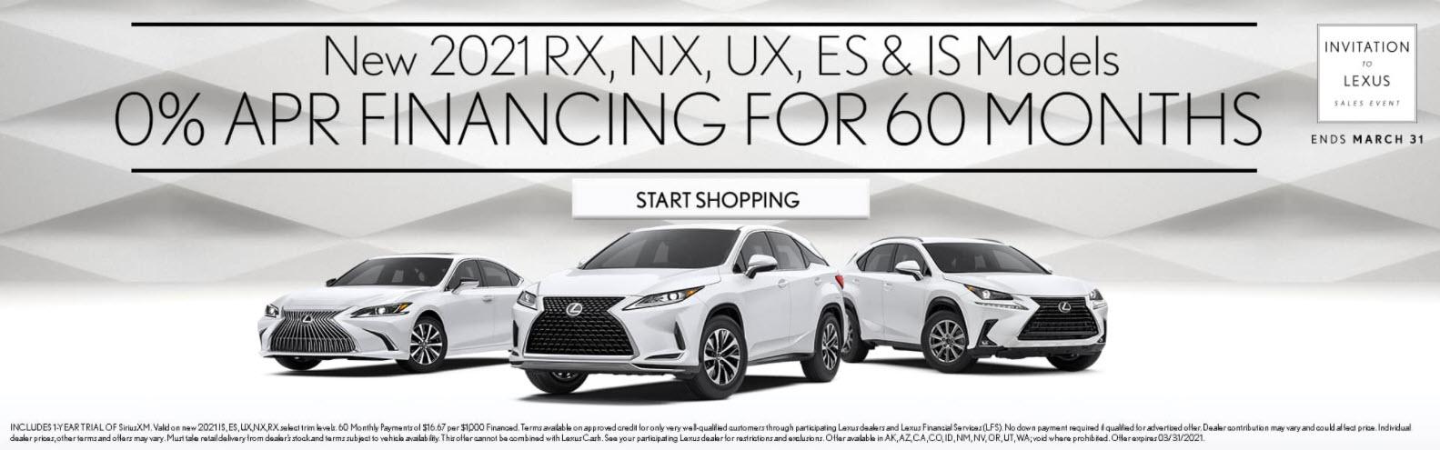 2021 RX, NX, UX, ES, & IS Models