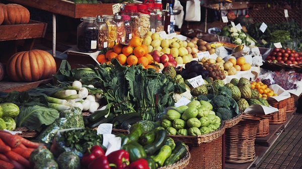 Vegetables and Fruit at a Market