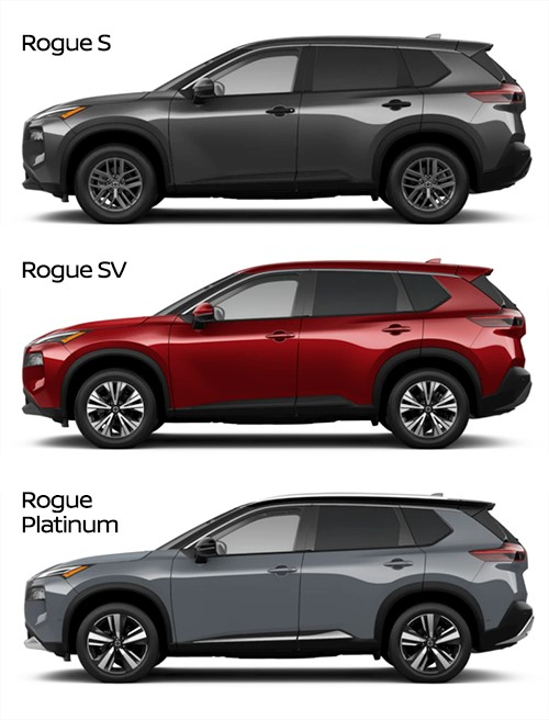 Exterior images of the 2021 Nissan Rogue trims.