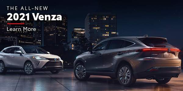 The All New 2021 Venza. Image of two Toyota Venzas. Click link to navigate to 2021 Toyota Venza Overview page