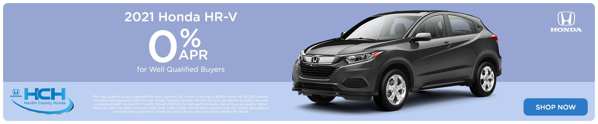 0% APR - 2021 Honda HR-V