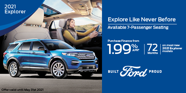 1.99% APR for 72 months on most new 2021 Explorer models