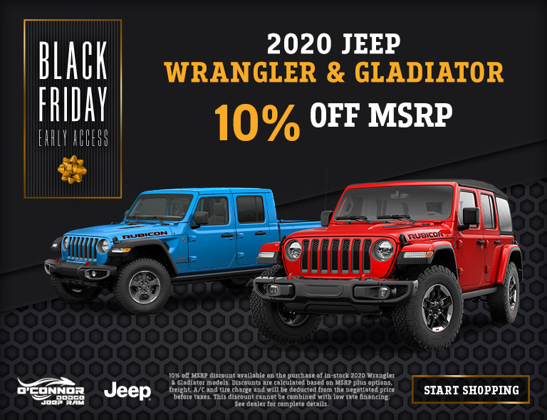 10% Off 2020 Jeep Wrangler & 2020 Jeep Gladiator at O'Connor CDJR in Chilliwack, BC