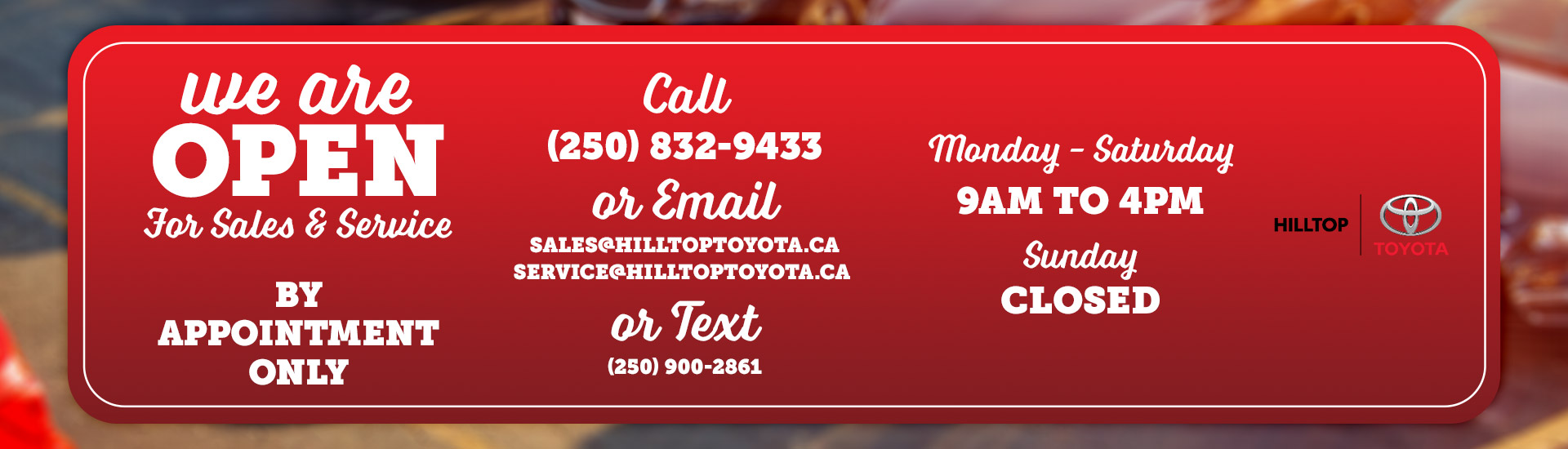 Hilltop Toyota Hours | Salmon Arm, BC