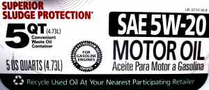 Oil change article picture showing 5 quart oil label SAE 5W-20 Motor Oil